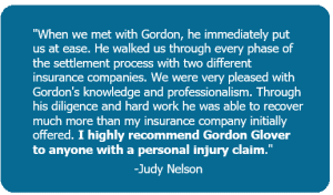 A 5-star review discussing a personal injury claim with Glover Law